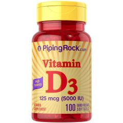 Piping Rock Vitamin D-3 5000 IU High Potency 100 Softgels