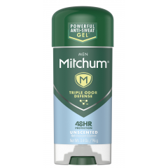 Mitchum Men 48HR Triple Odor Defence Gel Stick, Unscented, 96g