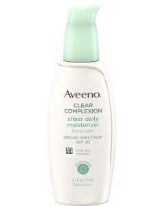 Aveeno Clear Complexion Sheer Daily Face Moisturizer Sunscreen with Broad Spectrum SPF 30