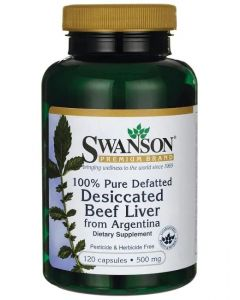 Swanson Premium 100% Pure Defatted Desiccated Beef Liver 500mg